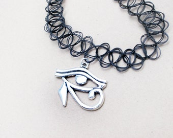 Eye of Horus Choker // 90s Tattoo Choker // Grunge Choker Necklace // Boho Hipster Jewelry