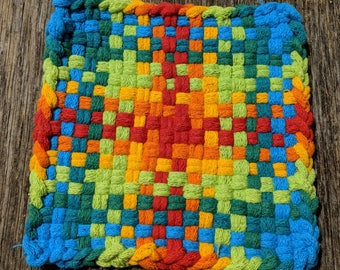Colorful Old Fashioned Handmade Cotton Potholders, Hot Pads & Trivets made by my special needs daughter with lots of love.