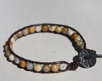 Single Leather Wrap Bracelet, Tan/Brown Beads