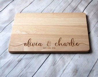 Custom Name chopping board for couples - Personalised Cutting board -  Weddings - Engagement - Anniversary - calligraphy font