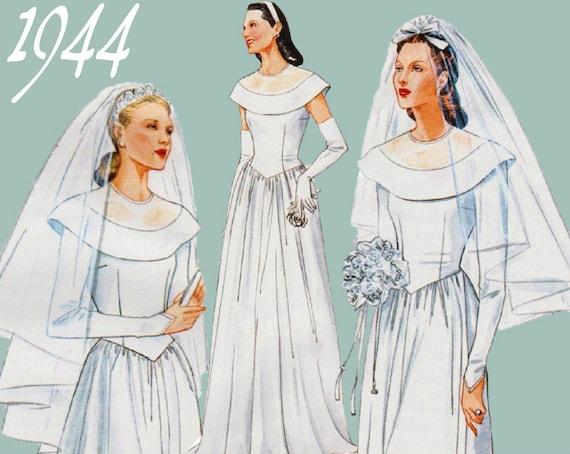 1940s Wedding Dress Pattern VOGUE 2384 sz 12-16 b 34-38 UNCUT ...