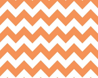 Riley Blake Medium Chevron Orange Fabric, 1 yard