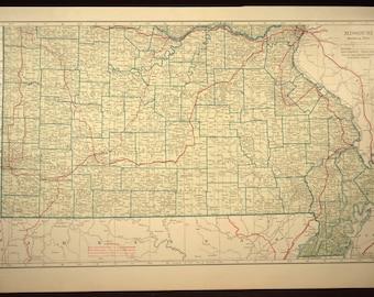 Vintage missouri map Etsy