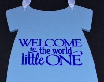 New Baby Plaque- Hanger-Onesie-Vest-Blue Acrylic- Baby Shower, Baby Boy.