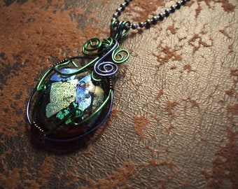 Dichroic Fused Glass Green Black Wire Wrap Long Ball Chain Pendant Necklace