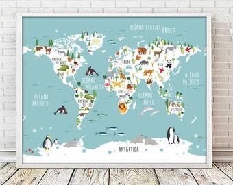 Nusery world mapenglish animal world map 4 sizes spanish mapamundi spanish world map print map print mapamundi print animal map gumiabroncs Gallery