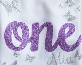 First Birthday - Butterfly First Birthday - Lavender and Silver Shirt