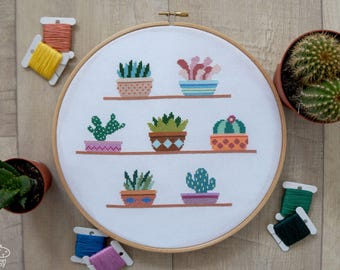 Cactus Cross Stitch Pattern PDF, Easy Cross Stitch, Succulents Counted Cross Stitch Chart, Modern Cacti Plants Embroidery, Gift for Mom