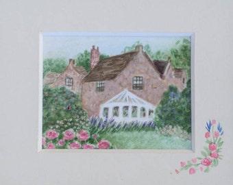 Original watercolor miniature Dollhouse mini tiny art house and garden