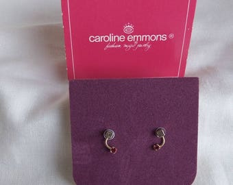 Caroline Emmons Twice as Nice Pierced Earrings 2295       Vintage, Surgical steel posts, Golden