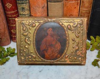 Antique Gilt Italian Small Wood Florentine Box with Female Potrait