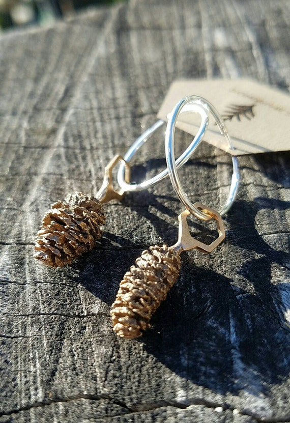 Red Alder Cone Hexagon Bronze Earrings with Sterling Silver Hoops