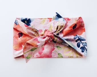Watercolor Peach Pink Gold and Coral Floral Headwrap/Headband - One Size Fits All