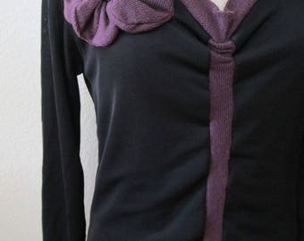 Black v-neck long sleeves top with rose decoration plus made in U.S.A (V132)
