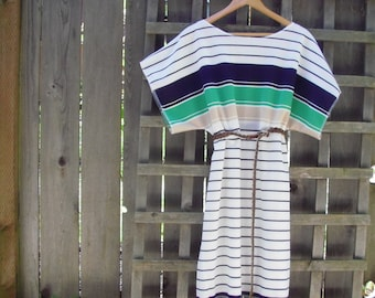 Sheer Color Block Tunic Dress/ Reclaimed Stretch Knit See Through Cover Up Beach Wear