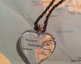 Puerto Valiarta Vintage Map Pendant Necklace