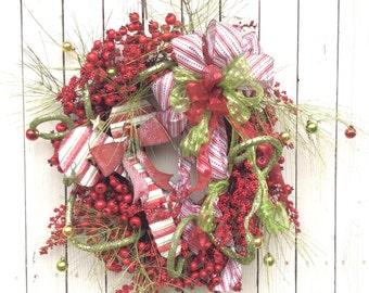 Christmas Wreath, Classic Christmas Wreath, Whimsical Christmas Wreath, Candy Cane Christmas Wreath, Red and Green Christmas Wreath