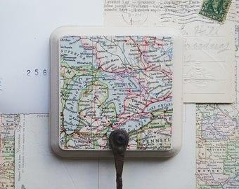 Map Wall Hook, Great Lakes Map, Vintage Map Wall Hanger, Key Hook, Kitchen Hook, Bathroom, Bedroom Decor, Rustic Home Organization