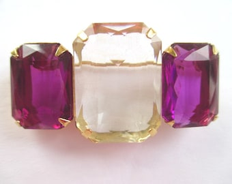 AVON Pin / Brooch * Amethyst Color Stones And Clear Stones * Classic Vintage