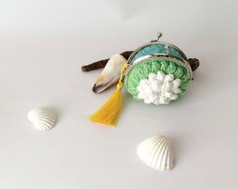 Green Wallet, Flower Pouch Crocheted Purse, Spring Handmade Coin Bag