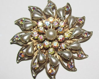 VIntage 1950's - 1960's Faux Pearl and AB Rhinestone Pin Brooch