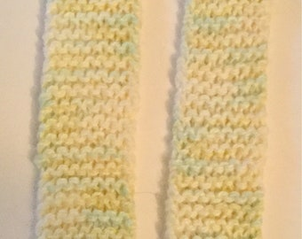 Scarf , pastel yellow and green .