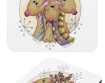 Reindeer Christmas, Set of Reindeer Christmas Coasters by Moonlake Designs