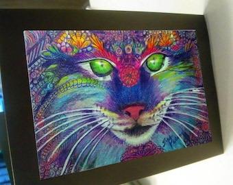 greeting card print lynx drawing colorful zentangle