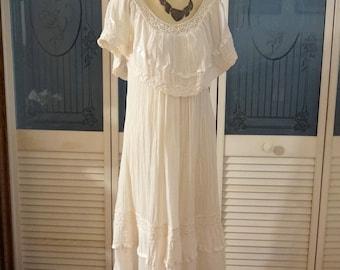 Vintage Boho Hippie Crinkle Gauze Crochet Dress