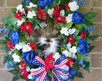 Patriotic, Owl, Wreath, Memorial Wreath, Patriotic Wreath, Owl Wreath, Red, White, Blue, Door Decoration, With No Owl less cost, Door, Wall