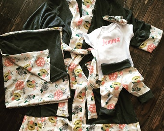 Mommy and me matching robe set with swaddle