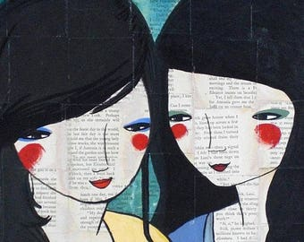 Sisters Best Friends Love Friendship Love Your Sister Acrylic Painting Vintage Book Pages Art Portrait Kindness Inseparable