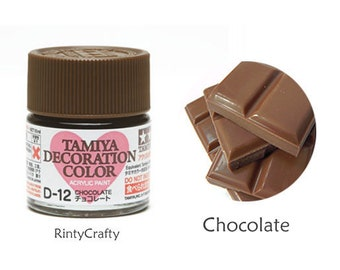 Tamiya Decoration Color D-12 Chocolate Color Brown Paint, Acrylic Paint for Crafts, Japan - For Fake Food, Miniature Dollhouse Food