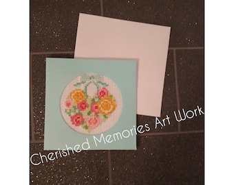 Cross stitch heart shaped card (blank inside)