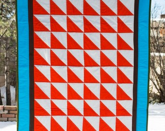 Red and Blue Half Square Triangle Quilt - Lap Quilt - Baby Quilt - Throw Quilt