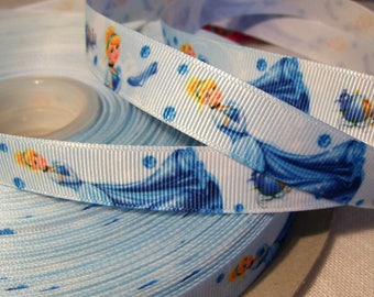 Printed grosgrain Ribbon * 16 mm * Princess Cinderella shoes glass slipper - sold by the yard