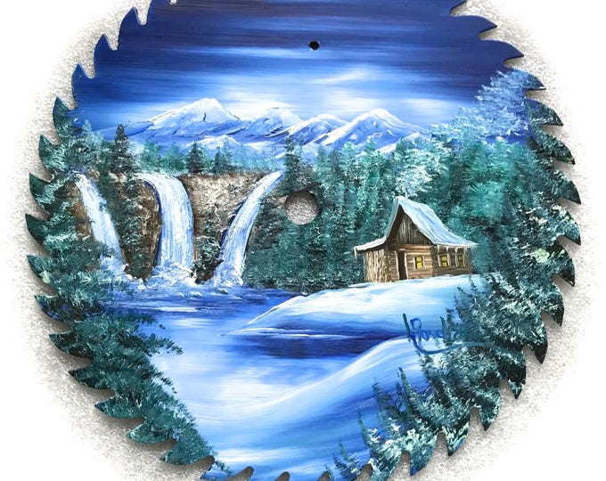 Hand Painted Saw Blade Mountain Cabin Waterfalls 10 1/4 inch Real Saw Blade