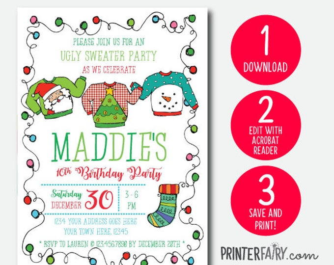 Ugly Sweater Birthday Invitation, Holiday Party Invite, Christmas Party, EDITABLE Invitation, INSTANT DOWNLOAD