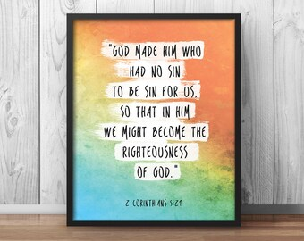 """Scripture Quote Art, Corinthians 5:21, """"God made him who had no sin"""", scripture art, christian art, Church Painting, Bible Quotes - 039"""
