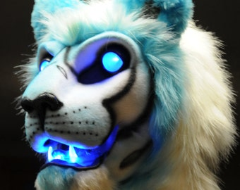 Big cat fursuit head resin base blank with moving jaw