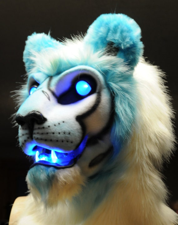 & Big cat fursuit head resin base blank with moving jaw