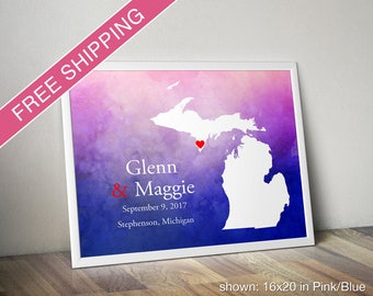 Custom Michigan Print with Watercolor Background - Wedding Guest Book, Wedding Gift, Engagement Gift, Anniversary Gift