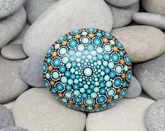 Gold Turquoise Painted Rock - Paint Rock - Mandala Rock - Turquoise - Mandala Art - Hand-Painted Pendant Stone - Chakra - Paperweight