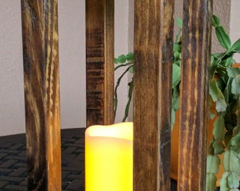 Rustic Indoor Outdoor Lantern Flameless Candle Holder made from Reclaimed & Repurposed Wood