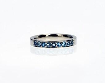 Platinum wedding band with aquamarines, Platinum ring, aquamarine wedding ring, blue wedding, engagement, platinum eternity ring, custom