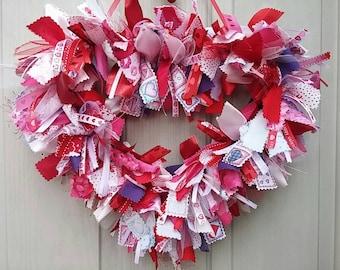Valentines Wreath, Valentine Heart, Pink Wreath, Red Valentine Decor, Wreath, Ribbon Wreath, Bridal Heart Wreath, Bachelorette Party Decor