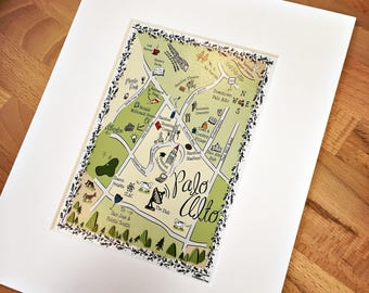 Palo Alto Map Art Print