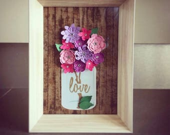 DIY paper flower kit; DIY craft kit for kids; Vase and Paper Flowers; Paper flowers and Mason jar;  Craft for kids; Kids Craft