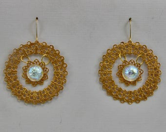 Handmade Dangle Earrings Russian Gold Plate Double Round Filigree With a 14mm Etched Glass Dome Iridescent Blue White AB Oscarcrow Jewelry