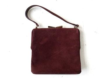 Vintage 50s Purse | Brown Suede Bag | 1950s Handbag